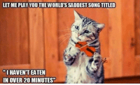 """Memes, 🤖, and Let Me: LET ME PLAYYOUTHEWORLD'S SADDEST SONGTITLED  O HAVENT EATEN  IN OVER 20 MINUTES"""""""