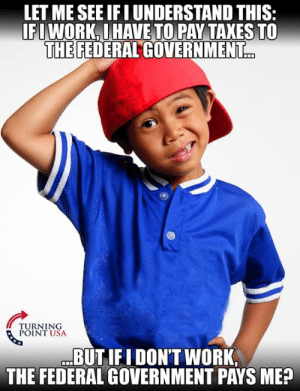 Memes, Taxes, and Work: LET ME SEE IFI UNDERSTAND THIS  IFIWORK.I HAVE TO PAY TAXES TO  THE FEDERAL GOVERNMENT  TURNING  POINT USA  BUTIFI DON'T WORK,  THE FEDERAL GOVERNMENT PAYS ME? There's Something SERIOUSLY Wrong With This! #TaxationIsTheft