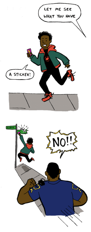 deadgravity:  Congrats on the Academy Award, Spiderverse!: LET ME SEE  WHAT You HAVE  A STICKER!   ritti  No!! deadgravity:  Congrats on the Academy Award, Spiderverse!
