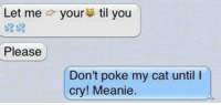 Memes, 🤖, and Poke: Let me your  til you  Please  Don't poke my cat until  cry! Meanie