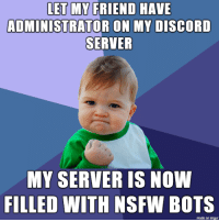 Discord Failure in life: LET MY FRIEND HAVE  ADMINISTRATOR ON MY DISCORD  SERVER  MY SERVER IS NOW  FILLED WITH NSFW  BOTS  made on Imgur Discord Failure in life