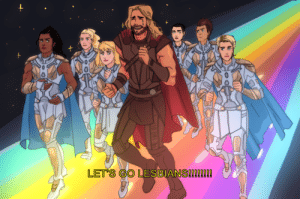 Lesbians, Target, and Tumblr: LET S GO LESBIANS!22020! malefeministthor:  ROUNDING THE BIFROST WITH A PACK OF LESBIANS PATREON