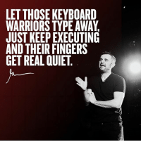 Memes, Anonymous, and Keyboard: LET THOSE KEYBOARD  WARRIORS TYPE AWAY  JUST KEEP EXECUTING  AND THEIR FINGERS  GET REAL QUIET, Enough worrying about anonymous comments on your content ... Execute your mission and everyone gets real quiet ! entrepreneurlife