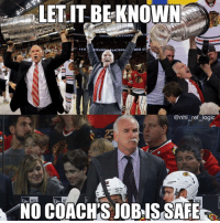 Logic, Memes, and National Hockey League (NHL): LETIT  BE-KNOWN  TANL  TA  CHICADBLACKNAWES  ICAG  LACKHA  2015 ST  @nhl ref_logic  25  NE  NO COACHİS JOBS SAFE I'm not sure you can blame Coach Q for the Hawks struggles but I guess you gotta blame someone