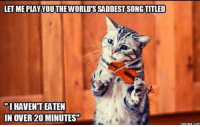 song titles: LETME PLAY YOUTHEWORLDSSADDEST SONG TITLED  IHAVENTEATEN  IN OVER 200 MINUTES