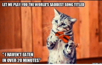 song titles: LETME PLAY YOUTHEWORLDSSADDEST SONG TITLED  mIHAVENTEATEN  IN OVER 200 MINUTES