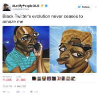 <p>Art imitates Life (via /r/BlackPeopleTwitter)</p>:  #LetMyPeopleGLO  @MichelCClark  Follow  BlacK Iwitter's evolution never ceases to  amaze me  RETWEETS  LIKES  11,065 21,360  12:04 PM-15 Mar 2017  3211K21 <p>Art imitates Life (via /r/BlackPeopleTwitter)</p>
