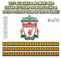 Memes, 🤖, and Apr: LETS ALL TAKE A MOMENTAND  LAUGHAT LIVERPOOL FOR LOSING A  DOTH POSITION TEAM IN THE PLTABLE!  #APR  You LL NEVER WALK ALONE  LIVERPOOL  FOOTBALL CLuB  EST 1892  HAHAHAHAHAHAHAHAHAHAHAH  HAHAHAHAHAHAHAHAHAHAHAH  HAHAHAHAHAHAHAHAHAHAHAH Liverpool 2-3 Swansea 😂 🔺LINK IN OUR BIO 😎🔥