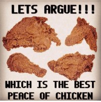 Arguing, Memes, and Best: LETS ARGUE!!!  WHICH IS THE BEST  PEACE OF CHICKEN