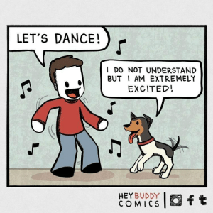 dogs are always down to party: LET'S DANCE!  I DO NOT UNDERSTAND  BUT I AM EXTREMELY  EXCITED!  O ft  HEY BUDDY  COMICS dogs are always down to party
