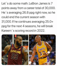 LeBron James, Nba, and Break: Let's do some math. LeBron James is 7  points away from a career total of 30,000.  He's averaging 26.8 ppg right now, so he  could end the current season with  31,000. If he continues averaging 25.0+  ppg for the next 4 seasons, he will break  Kareem's scoring record in 2022.  CLEVELAND  @NBAMEMES  23 LeBron is on track to shatter some records.  (Credit: @DoctorNBA)