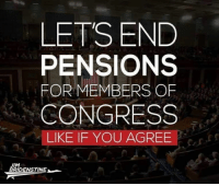 Memes, American, and Freedom: LETS END  PENSIONS  FOR MEMBERS OF  CONGRESS  LIKE IF YOU AGREE  JIM  BRIDENSTINEN Follow us fore more at American Freedom