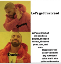 Memes, Ducks, and Water: Let's get this bread  Ducks  Let's get this half  cut seedless  grapes, chopped  lettuce, birdseed  peas, corn, and  oats  Because bread  doesn't contain  any nutritional  value and it also  pollutes the water  Ducks https://t.co/1xznIjoEoy