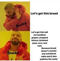 Ducks, Water, and Corn: Let's get this bread  Ducks  Let's get this half  cut seedless  grapes, chopped  lettuce, birdseed  peas, corn, and  oats  Because bread  doesn't contain  any nutritional  value and it also  pollutes the water  Ducks Don't give ducks bread!