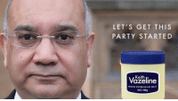 From Simon: LET'S GET THIS  PARTY STARTED  Keith  WHITE PETROLEUM JELLY  NET 100g From Simon