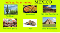 Taco Bell: let's go to amazing MEXICO  No bad hombres!  Taco Bell  Tall bois  Bachelor party  caps  and mountains