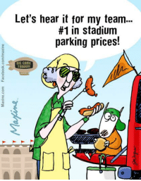 Dank, 🤖, and Price: Let's hear it for my team...  #1 in stadium  parking prices!  BIG GAME  TODAy Let's hear it for my team…#1 in stadium parking prices!