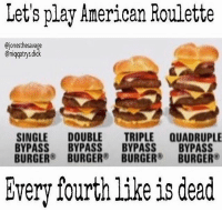 Memes, 🤖, and Burger: Let's play American Roulette  Ojonesthesavage  Cniqqatrysdick  SINGLE DOUBLE  TRIPLE QUADRUPLE  BYPASS  BYPASS  BYPASS  BYPASS  BURGER  BURGER  BURGER  BURGER  Every fourth like is dead Last time lmao comment your number no cheating👀👇🏽 (@jonesthesavage)