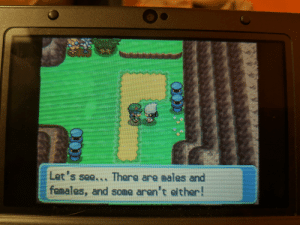Pokemon, Platinum, and Pokemon Platinum: Let's see... There are males and  females, and some aren't either! Pokemon Platinum says Trans and Enby Rights!
