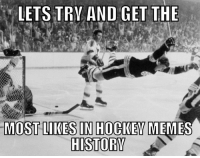 Hockey, Memes, and History: LETS TRN AND GET THE  MOST LIKES IN HOCKEY MEMES  HISTORY Lets try to get the most likes ever on this photo in Hockey Memes history, record: 20,000k- winch