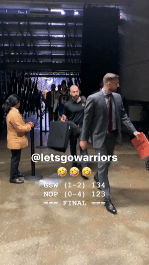 😂Steph Curry & D'Angelo Russell after their first win of the season!   Curry: 26 PTS, 11 AST (9-17 FG) D-LO: 24 PTS, 8 AST (9-21 FG)  (Via @poormanscommish)   https://t.co/MuF6pyp6TR: @letsgowarriors  APALIN  GSW (1-2) 134  NOP (0-4) 123  FINAL 😂Steph Curry & D'Angelo Russell after their first win of the season!   Curry: 26 PTS, 11 AST (9-17 FG) D-LO: 24 PTS, 8 AST (9-21 FG)  (Via @poormanscommish)   https://t.co/MuF6pyp6TR