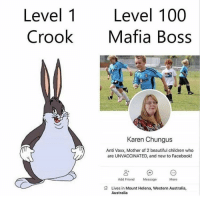 Meirl: Level 1  Crook  Level 100  Mafia Boss  Karen Chungus  Anti Vaxx, Mother of 2 beautiful children who  are UNVACCINATED, and new to Facebook!  Add Friend  Message  More  Lives in Mount Helena, Western Australia,  Australia Meirl