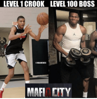 That Giannis evolution though: LEVEL 1 CROOK  lull  LEVEL 100 BOSS  EXl  JC  @NBAMEMES  MAFI CITY That Giannis evolution though