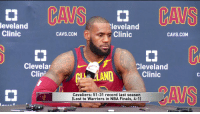 """Cavs, Finals, and Memes: leveland  Clinic  leveland  Clinic  CAVS.COM  CAVS.COM  Clevelar  Clin  Cleveland  Clinic  PILAND  BAVS  Cavaliers: 51-31 record last season  (Lost to Warriors in NBA Finals, 4-1 """"Only thing I'm upset about is he took a lot of DNA and blueprints to Boston.""""  - LeBron https://t.co/dmzuO7Bfeg"""