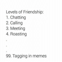 Anaconda, Friends, and Memes: Levels of Friendship:  1. Chatting  2. Calling  3. Meeting  4. Roasting  99. Tagging in memes If they don't tag you in 100 memes a day, they aren't your friends🤦🏻‍♂️😂