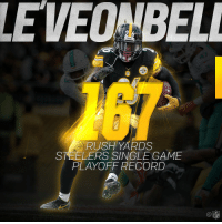 Memes, Record, and Rush: LEVEO BELL  RUSH YARDS  STEELERS SINGLE GAME  PLAYOFF RECORD  NFL What did @L_Bell26 do in his 1st playoff game? Set a @steelers record. 👍