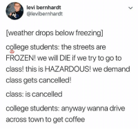 Af, College, and Frozen: levi bernhardt  @levibernhardt  [weather drops below freezing]  college students: the streets are  FROZEN! we will DIE if we try to go to  class! this is HAZARDOUS! we demand  class gets cancelled!  class: is cancelled  college students: anyway wanna drive  across town to get coffee 🤣Accurate AF
