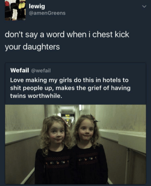 Girls, Love, and Shit: lewig  @amenGreens  don't say a word when i chest kick  your daughters  Wefail @wefail  Love making my girls do this in hotels to  shit people up, makes the grief of having  twins worthwhile. Cant risk anything