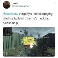 Memes, Good Morning, and Good: Lewis  @PolarSaurusRex  0  @callofduty this player keeps dodging  all of my bullets l think he's modding  please help  G&PolarSaurusRex  MPS Red Dot Sight  0 Good morning everyone
