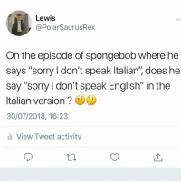 "Memes, Sorry, and SpongeBob: Lewis  @PolarSaurusRex  On the episode of spongebob where he  says ""sorry ldon't speak ltalian"", does he  say ""sorry l don't speak English"" in the  Italian version  30/07/2018, 16:23  ll View Tweet activity Keep asking questions"