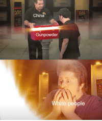 White People, China, and White: LEX  EAL  China  TAPE  Gunpowder  CLE  LUE  White people Yi haw!!!