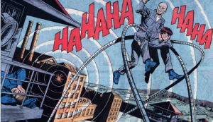 Lex luthor riding on the back of doctor octopus.: Lex luthor riding on the back of doctor octopus.