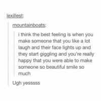 Beautiful, Memes, and Best: lexillest:  mountainboats:  i think the best feeling is when you  make someone that you like a lot  laugh and their face lights up and  they start giggling and you're really  happy that you were able to make  someone so beautiful smile so  much  Ugh yesssss tag someone who makes you laugh