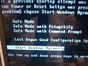 Tumblr, Windows, and Blog: lf  a  previous  startup  attempt  was  the Power or Reset buttgn was pre  problemS chgose Start Wandows Ngrm  Safe Mode  Safe Mode wath Fetugrkifg  Safe Mode ผath Command Prompt  Last Kngum Good Conf iguratign (q  Start Wandows Ngrmadly  Use the up and down arrgผ keys to mgve rage-comics-base:  Thanks Windows….