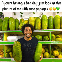 Bad Day, Memes, and 🤖: lf you're having a bad day,Uust look at this  picture of me with huge papayas  chaka bars  SO The world needs more smiling faces :)