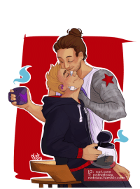 natowe: Thanks to @bandersnatch-cumberdict I had yet another chance for drawing those two, this time as a smitten coffee lovers  ♡♡♡ You also can commission me!! [Description under the cut] Keep reading : lG: nat.owe  l:nafnatowe  natowe.tumblr.con natowe: Thanks to @bandersnatch-cumberdict I had yet another chance for drawing those two, this time as a smitten coffee lovers  ♡♡♡ You also can commission me!! [Description under the cut] Keep reading