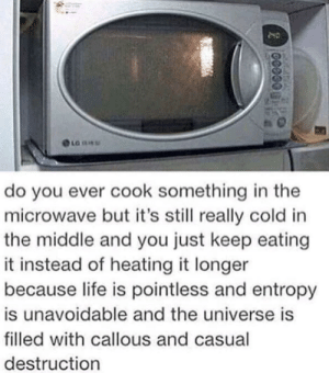 microwave: LG SEU  do you ever cook something in the  microwave but it's still really cold in  the middle and you just keep eating  it instead of heating it longer  because life is pointless and entropy  is unavoidable and the universe is  filled with callous and casual  destruction  200000