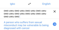 uwu: lgbo  English  owo uwu owo uwu owo uwu oWO Uwu  A person who suffers from sexual  misconduct may be vulnerable to being  diagnosed with cancer