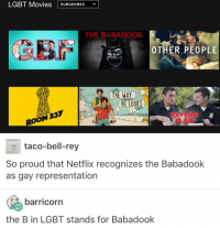 The babadook is bi: LGBT Movies  SUBGENRES  THE BABADOOK  OTHER PEOPLE  taco-bell-rey  So proud that Netflix recognizes the Babadook  as gay representation  barricorn  the Bin LGBT stands for Babadook The babadook is bi