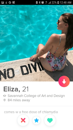 College, Free, and Design: LGE  22%12:48 AM  NO DIV  Eliza, 21  Savannah College of Art and Design  84 miles away  comes w a free dose of chlamydia  A Free dose