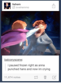 Frozen: liahem  lovehemmo  balcony scene:  i paused frozen right as anna  punched hans and now im crying  11,674 notes