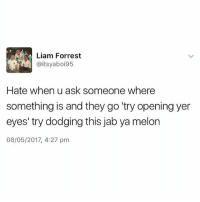 "Memes, 🤖, and Ask: Liam Forrest  @itsyaboi95  Hate when u ask someone where  something is and they go ""try opening yer  eyes' try dodging this jab ya melon  08/05/2017, 4:27 pm 😂😂😂😂"