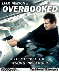 Friday, Funny, and Liam Neeson: LIAM NEESON Is  OVERBOOKED  THEY PICKED THE  WRONG PASSENGER  com  The Intemet Scavengers <p>Jocular Friday memes  Our funny daily picture dump  PMSLweb </p>