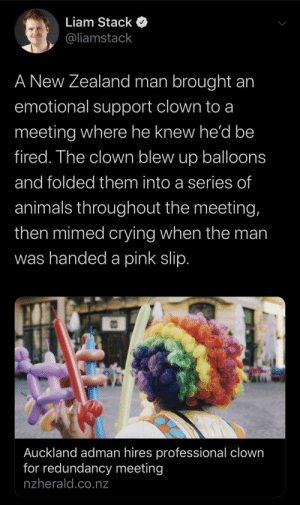 a pink: Liam Stack  @liamstack  A New Zealand man brought an  emotional support clown to a  meeting where he knew he'd be  fired. The clown blew up balloons  and folded them into a series of  animals throughout the meeting,  then mimed crying when the man  was handed a pink slip.  Auckland adman hires professional clown  for redundancy meeting  nzherald.co.nz