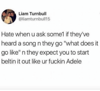 """Adele, Mean, and What Does: Liam Turnbull  @liamturnbull15  Hate when u ask some1 if they've  heard a song n they go """"what does it  go like"""" n they expect you to start  beltin it out like ur fuckin Adele I mean I'll sing it but you won't like it"""