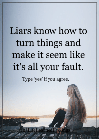 Memes, How To, and 🤖: Liars know how to  turn things and  make it seem like  it's all your fault.  Type yes' if you agree <3